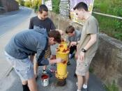 4 boys painting fire hydrant