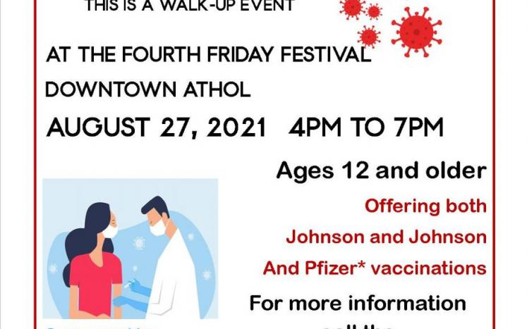 free COVID-19 vaccination clinic August 27, 2021
