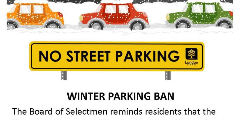 Cartoon of cars parked on the side of the road in the snow with a No Street Parking sign